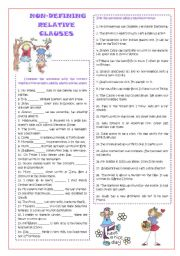 English Worksheet: Non-defining relative clauses