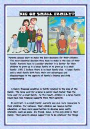 English Worksheet: big or small family