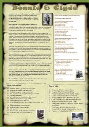 English Worksheets: BONNIE & CLYDE