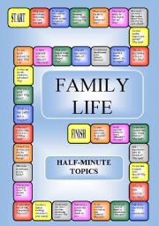 English Worksheets: Family Life -  boardgame or pairwork (34 questions for discussion)