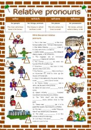 English Worksheet: Relative pronouns - where, which, who, whose