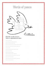 English Worksheets: Words of peace (2 pages)
