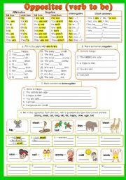 English Worksheet:  Verb to BE and opposites (b/w version included) - fully editable