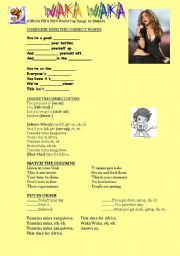 English Worksheet: WAKA WAKA by SHAKIRA