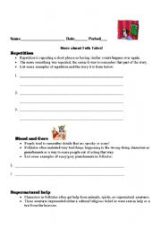 English Worksheets: More About Folktales!