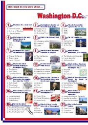 English Worksheet: Washington D.C.- Quiz
