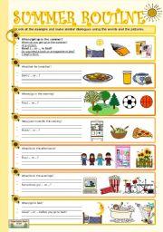 English Worksheet: SUMMER ROUTINE