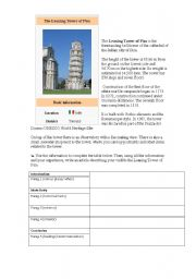 English Worksheets: a visit to the Leaning Tower of Pisa