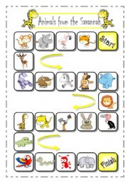 English Worksheets: Animals from the African Savannah