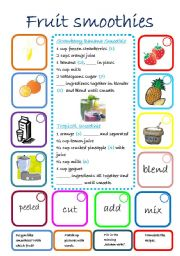 English Worksheet: FRUIT SMOOTHIES RECIPES
