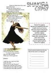 English Worksheet: I�m a gypsy: Shakira