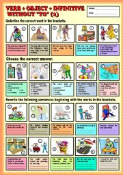 English Worksheets: Verb + Object + infinitive without