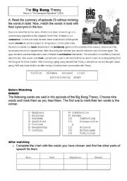 esl worksheets for adults the big bang theory. Black Bedroom Furniture Sets. Home Design Ideas