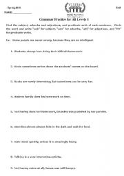 English Worksheets: Identify the Part of speech!