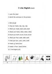English Worksheet: I Like English (chant)