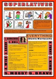 English Worksheet: SONG ACTIVITY - Everything (By Alanis Morissette) - SUPERLATIVES (+Key)