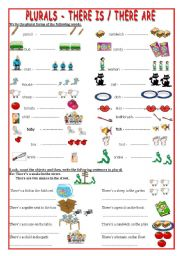 English Worksheet: Plurals- there is- there are- 2 pages!