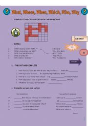 English Worksheets: What. Where, When, Who, Which