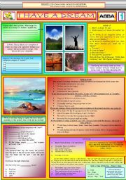 English Worksheet: I HAVE A DREAM - ABBA - PART 01 (FULLY EDITABLE)