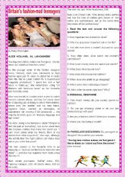 English Worksheet: TEENS AND FASHION - BRITAIN�S FASHION-MAD TEENAGERS