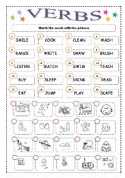 English Worksheets: 20 ACTIONS MATCH