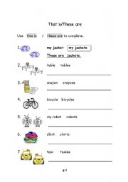 English Worksheets: this is / these are