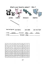 English Worksheets: what�s your favorite animal