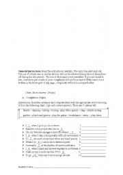 English Worksheet: Sports and Leirure Activities TEST !!