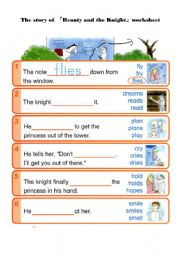 English Worksheets: Beauty and the Knight -worksheet 2