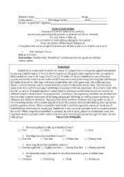 English Worksheet: Hobbies and Sports Test