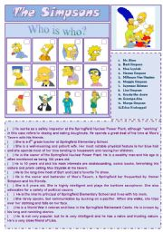 English Worksheet: Cartoon Series 1 - The Simpsons (2 pages + answer key)