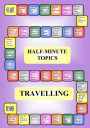 English Worksheet: Travelling - a boardgame or pairwork (34 questions for discussion)