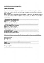 English Worksheets: What I eat every day.