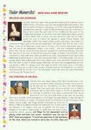 English Worksheets: TUDOR MONARCHS: ANNE BOLEYN.