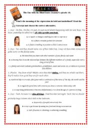 English Worksheet: FRIENDS: The One with the Blind Dates (Season 9, episode 14)