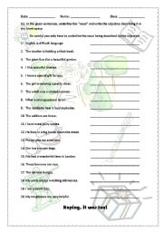 English Worksheets: Revision of adjectives and nouns