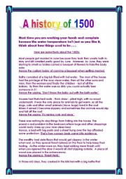 English Worksheets: Funny facts about the 1500s and customs today
