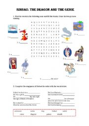 English Worksheets: Sinbad. The dragon and the genie