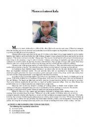 English Worksheet: Morocco�s street kids