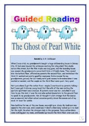 English Worksheets: Reading & writing Project (final task= writing a story)- The  GHOST of Pearl White -(COMPREHENSIVE: 8 pages, 18 TASKS, with KEY)