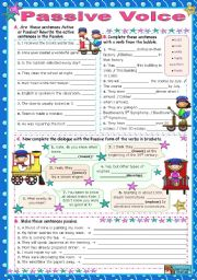 English Worksheets: Passive Voice (one object)