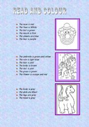 English Worksheets: part of the body, face and colours