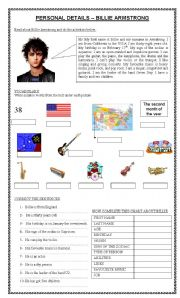 English Worksheet: PERSONAL PROFILE: BILLIE ARMSTRONG (GREEN DAY)