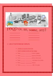 English Worksheet: a, an, some. any (food)