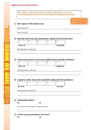 English Worksheets: English Course Questionnaire for Students to complete