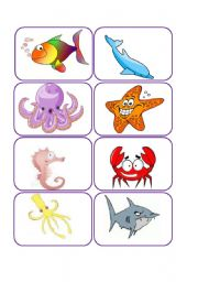 English Worksheet: ocean animals flashcards and memory game
