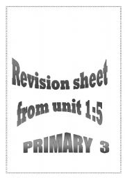English Worksheets: Revision Sheet for Macmillan English 3.