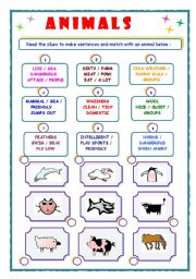 English Worksheets: Animals - describe and match