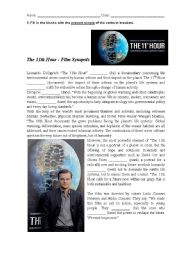 English Worksheets: The 11th Hour - Film Synopsis