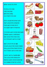 English Worksheet: Food poem/What would you like?